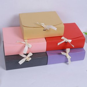 Wholesale Kraft Paper Envelope Gift Box Wedding Party Favor Dress Clothing Packaging Box With Ribbon X19 X7CM QW7070