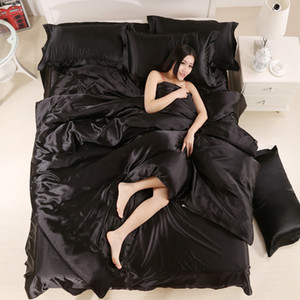 100% Good Quality Satin Silk Bedding Sets Flat Solid Color Queen King Size 4pcs Duvet Cover+Flat Sheet+Pillowcase Twin Size