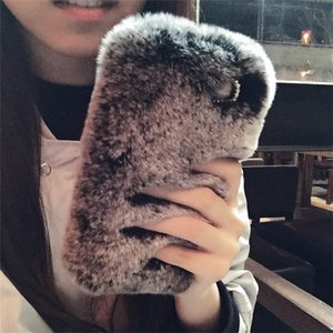 Wholesale Fashion Luxury Rex Rabbit Hair Diamond Plush Fur Cell Phone Cases for iPhoneX plus Mobile Shell Apple s winter warm soft Cover for women