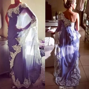 2019 Elegant One Shoulder Egypt Moroccan Kaftan Evening Dresses Abaya Dubai Muslim Formal Party Gowns With Lace Appliques