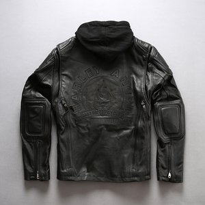 Wholesale Harley Angel motorcycle genuine leather jackets for men letter Embroidery locomotive jacket with hoody