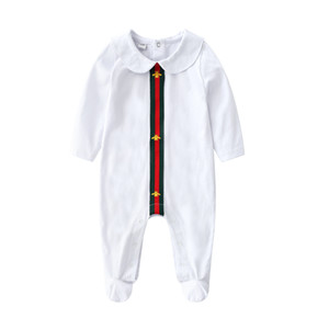 Wholesale Autumn baby Girl Designer Romper Infant Cotton Jumpsuit Kids Cartoon Stripe Onesie Newborn Stripe Long Sleeve Toddler Bodysuit Clothes Y444
