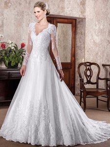 2019 Bling Sequins Long Sleeve A Line White Wedding Dress Lace Appliques V Neck Stunning Ruched Floor Length Modest Bridal Gowns