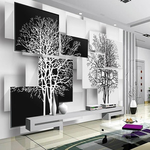 Customization 3D Wallpaper for Walls 3d Non Woven Silk Wallpaper Murals Backgrounds for Living Room Simple Black and White Tree on Sale