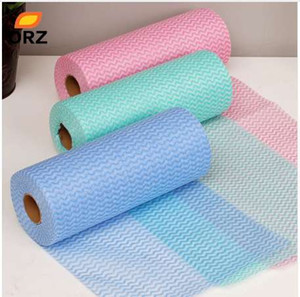 Wholesale ORZ Roll Bamboo Fiber Hand Washing Dish Cleaning Cloth and Wiping Rag Dishcloth Throwaway anti greasy Non woven Fabric