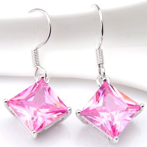 Wholesale Holiday Gfit Pairs Shine Antique Square Pink Kunzite Gems sterling Silver Drop Earrings UK American Wedding Earrings