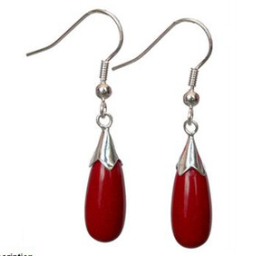 Wholesale New Pair Red Coral Sterling Silver Hook Teardrop Dangle Earrings