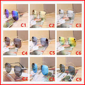 Wholesale 2018 Sunglasses Women Men Brand Designer Metal Frame Unique Hexagonal Flat lens Coating uv400 Sun glasses Goggle Eyewear