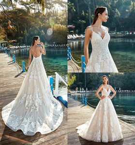 Wholesale Criss Cross Elegant Wedding Dresses Eddy K Court Train Sleeveless Bridal Gowns Spaghetti Sheer Neck Wedding Dress