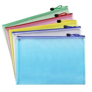 Wholesale files folders stationery resale online - A3 A4 A5 A6 B4 B5 B6 Grid Transparent Document Bag PVC Zipper Stationery Pouch Filing Products Bag LZ1887