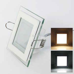 Wholesale 6W W W Glasses Led Square Panel Recessed Wall Ceiling Downlight AC85 V White Cool White Indoor Light
