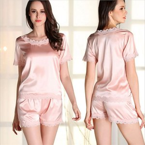 Wholesale Factory Outlets Sexy Women Pajamas Sets Real Silk Short Sleeve Nightwear High Quality Pyjamas Luxury Lace Round Neck Sleepwear