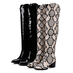 Latest Fashion Design Women Black Patent Leather and Python Print Knee High 65mm Chunky Heel Long Boots