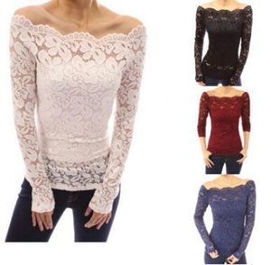 HOT SALE!Fashion Blusas Strapless Lace Openwork Lace Collar Long-sleeved Shirt Sexy Women Blouse Off Shoulder Lace Long Sleeve Tops