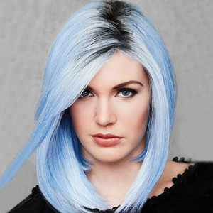 Wholesale Yaopoly Black Mixed Blue Short Highlights Bob Wigs Straight Heat Resistant Synthetic Hair Women Cosplay Wig