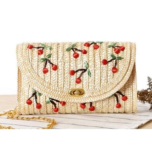 Fruit Cherry Banana Straw Beach Bag for Women Messenger Bags Embroidery Design Summer Cute Flap Chain Shoulder Bag Boho L20