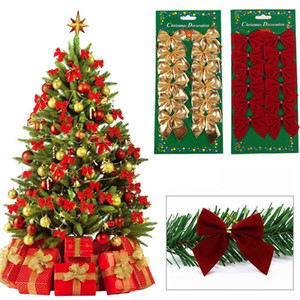 Wholesale 12 set Creative Christmas Tree Decoration Butterfly Knot Christmas Hot Red Bow Flocking Small Festive Supplies