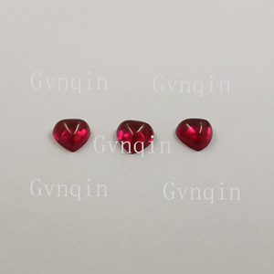100pcs lot free shipping lab created ruby#5 heart cabochon flat back loose stones