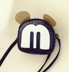 2018 Fashion New Handbag Cartoon Mickey Bag High quality PU Leather Mini Cute Ear Round Bag Shoulder Messenger Bags on Sale