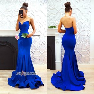 Royal Blue Long Ruffles Skirts Cheap Prom Dresses 2018 Sweetheart Mermaid Open Back Sweep Train Custom Made Evening Gowns BA8094 on Sale