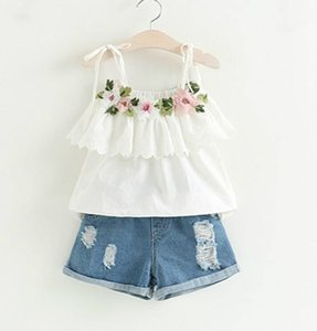 Fashion Girls Clothing Set Summer Baby Girls Clothes White Jacket Flower Decoration+Denim Shorts Children Clothes Free Shipping on Sale