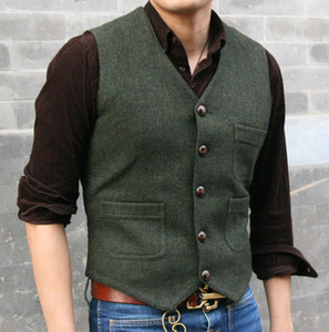Wholesale 2019 Modest Dark Green Wedding Groom Vests Wool Herringbone Tweed Vests Groomsmen Vest Mens Suit Vest Prom Blazers Waistcoat Plus Size
