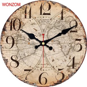 Wholesale WONZOM Map Design Large Wall Clock Silent Living Room Flower Coffee Wall Decor Saat Home Decor Watch Reloj De Pared