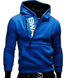 Explosions set the first side of the zipper hit color sweater hooded men sweater on Sale