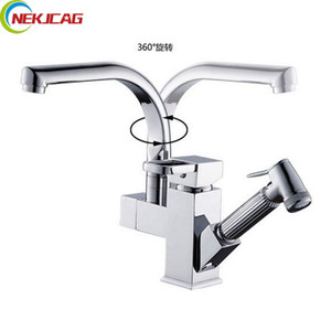 Wholesale sink kitchen for sale - Group buy Polished Chrome Deck Mounted Kitchen Faucet Dual Spouts Sink Mixer Tap Rotation Kitchen Hot Cold Water Taps