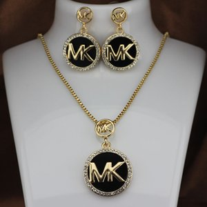 Fashion M brand Necklace Stud Earrings Set Necklace Woman Full diamond flashing letter earrings on Sale