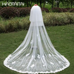 Wholesale 2018 Long Wedding Veil Layer Lace Applique Real Picture Cathedral Bridal Veils with Comb