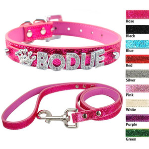 Wholesale Bling Personalized PU Leather Small Dog Collar Leash Set Customized Crystal Rhinestones Free Name Charm Gift