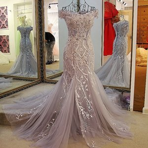 Fashion Mermaid Evening Dresses Lace Up Back Back Off Shoulder Short Sleeves Applique Beading Lace Formal Evening Dresses For Gray And Ivory on Sale