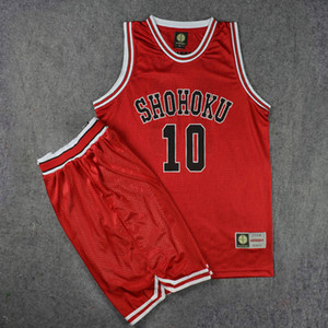 Anime Slam Dunk Shohoku Basketball Sakuragi Hanamichi Cosplay Uniform Jersey Slam Dunk NO.10 Jersey Power Forward Clothes Sport