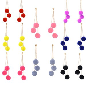 Wholesale 3 Pompoms Plush Ball Earrings Multilayer Long Dangle Ear Drop Metal Nails Girl Fashion Women Jewelry Earstud Color G54L
