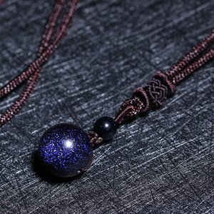 Wholesale Drop Shipping Natural Stone Blue Sandstone Round Bead Ball Necklace Pendant Aventurine Obsidian Starry Sky Star Energy Gift