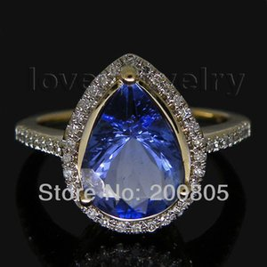 Beauty Lady Rings Jewelry Vintage Pear 7x9mm 14Kt Yellow Gold Natural Diamond Blue Tanzanite Ring SR0010 S923 on Sale
