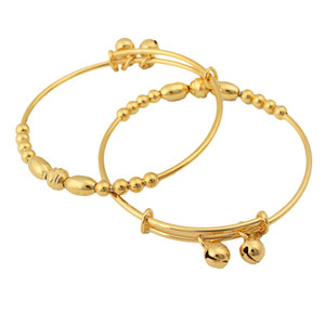 Wholesale child gold filled resale online - 2 Pieces Children Bangle Beads Design k Yellow Gold Filled Girls Birthday Gift Adjust Bracelet Birthday Gift For Kids