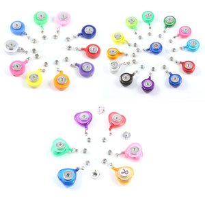 Noosa 18MM Snap Button Round Heart Retractable Ski Pass ID Card Badge Holder Reel Pull Key Name Tag Card Holder School Office Company