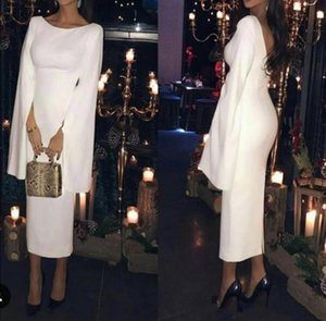 White Backless Satin Evening Dresses with Cape Tea Length Short Formal Evening Gown Cocktail Prom Party Dress