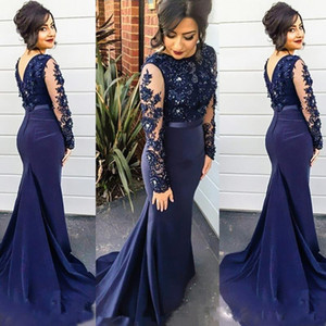 Wholesale 2019 High Neck Sheer Long Sleeves Navy Blue Evening Dresses Beaded Lace Appliqued Prom Dresses Party Gowns with Sweep Train Sash
