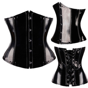 Wholesale Top Plus Size Corselet New Ladies Slimming Sexy Pvc Lingerie Plastic Steel Boned Corset Hot Wide Underbust Waist Belt Corset