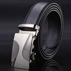 High Quality COW genuine Leather Belts for Men Male Brand Automatic Ratchet Buckle belt 35mm Wide 110-130cm long Waist Strap Bb18