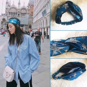 Wholesale Designer Elastic Headbands for Women New Luxury Blue Star Cross Turban hairband Streetwear Hair Jewelry Gifts