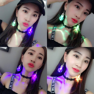Wholesale Network red Harajuku Harajuku personality tide female nightclub disco colorful light bulb earrings earrings ear hooks earrings