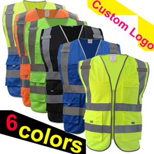 Wholesale free shipping safety vest reflective logo printing workwear hi vis clothing safety vest High visibility reflective waistcoat multi pockets
