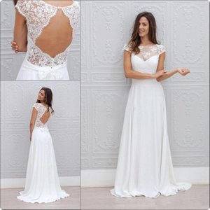 Wholesale backless wedding dresses china for sale - Group buy 2019 New Bohemia Summer Beach Wedding Dresses Vestido De Noiva China Garden Backless Boho A line Chiffon Bridal Gowns for Women