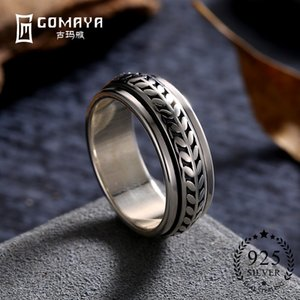 GOMAYA Unisex Rings 925 Sterling Silver Cool Gothic Vintage Rock Punk Cocktail Party Jewelry for Women and Men Y1892606
