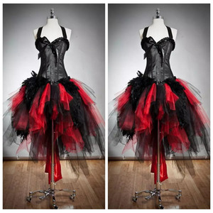 2019 Halter Slim Ball Gown Tulle Gothic Red and Black Corset Prom Dresses Custom Size Fur and Tulle Burlesque Hi Lo Special Party Dress on Sale