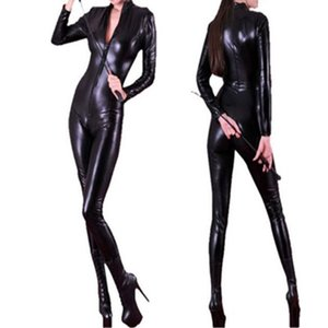 Wholesale 2016 Top High Quality PVC Synthetic Leather Bodysuit Sexy Black Long Sleeve With Zipper Catsuit PU Wet Look Jumpsuit